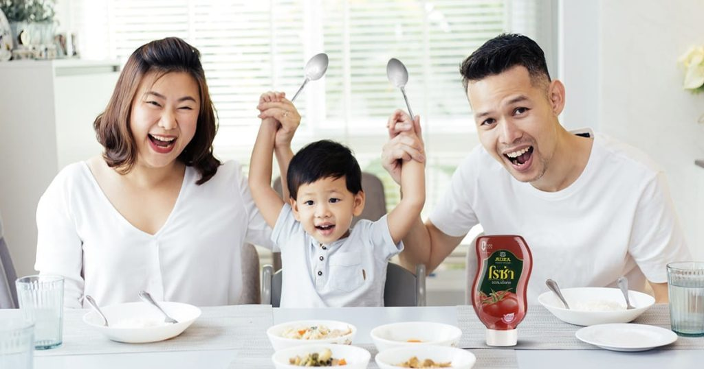 family happy with food